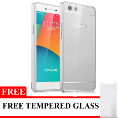 Twins Bumper Aluminium With Slide Backdoor For Oppo Neo 7 - Silver + Gratis Tempered Glass