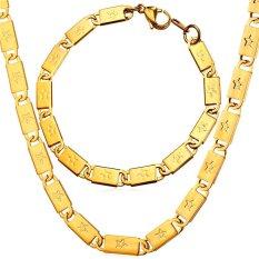 """U7 18 """"Bintang 18 K Emas Emas Disepuh Rantai Kalung dan Gelang untuk Pria Perhiasan"""