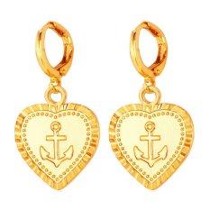 U7 Anchor Heart Drop Earrings 18 K Emas Plated (Emas)