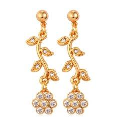 U7 Indah Bunga Crystal Drop Earrings untuk Wanita 18 K Emas Emas Disepuh Fashion Jewelry Gift