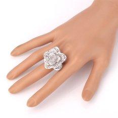 U7 Big Flower Ring Platinum Plated Fashion Perhiasan Trendy Tanaman Pernikahan Cincin Band untuk Wanita (Platinum)