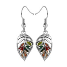 U7 Anting Kristal Platinum Plated Perhiasan Fashion Grosir Unik Daun Tanaman Anting Bulat untuk Wanita (Platinum)