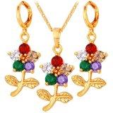 U7 Bunga Emas Plated Kubik Zircon Kalung Anting Anting Mewah Perhiasan Set Terbaru