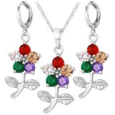 U7 Bunga Platinum Plated Kubik Zircon Kalung Anting Anting Mewah Perhiasan Set Asli