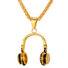U7 Berlapis Emas Cool Headset Pendant Kalung untuk Pria/Wanita Fashion 18 K Emas Emas Disepuh Perhiasan Berlian Imitasi Aksesoris (emas)