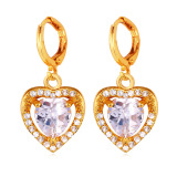Penawaran Istimewa U7 Heart Zircon 18K Gold Plated Drop Earrings Gold Terbaru