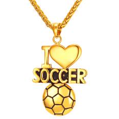 U7 Aku Sepak Bola Cinta Jantung Kalung Liontin 18 K Gold Berlapis Fashion Wanita/Pria