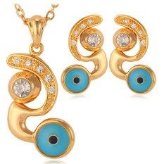 U7 Lucky Evil Eye Perhiasan Set 18 K Emas Emas Disepuh Berlian Imitasi Mata Jahat Kalung Earrings Set Hadiah untuk Wanita (emas)