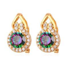 Jual Beli U7 Mewah Fancy Stone Stud Earrings Untuk Wanita 18 K Emas Emas Disepuh Fashion Jewelry Gift Emas Tiongkok