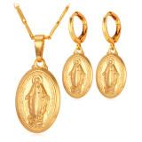 Spesifikasi U7 Bunda Allah Perawan Maria 18 K Nyata Emas Plated Necklace Earring Set Emas Lengkap