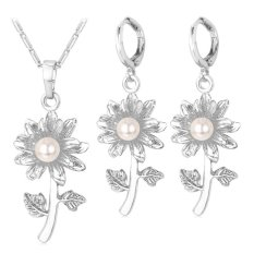 U7 Pearl Flower Necklace Earrings Set Platinum Plated Women Fashion Jewelry Platinum U7 Diskon