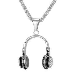 U7 Punk Cool Headset Pendant Kalung untuk Pria/Wanita Fashion 316L Stainless Steel Perhiasan Berlian