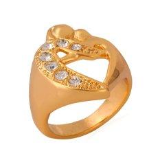 U7 Romantis Snog Pecinta Heart Ring 18 K Emas Emas Disepuh Berlian Imitasi Perhiasan Pertunangan Kawin Cincin