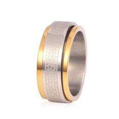 Spesifikasi U7 Rotatable Ayat Alkitab Dua Lapisan Stainless Steel Emas Plated Band Cincin Paling Bagus