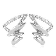 U7 Desain Unik Anting Platinum Berlapis Rhinestone Perhiasan Trendi Geometris Earrings untuk Wanita (Platinum)