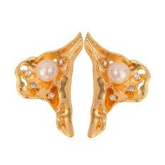 U7 Desain Unik Anting Mutiara 18 K Emas Emas Disepuh Berlian Imitasi Fashion Perhiasan Anting-Anting Trendi untuk Wanita (Emas)