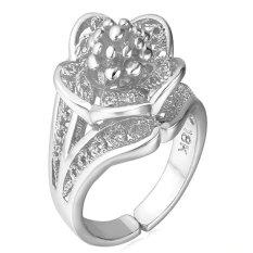 U7 Wanita Resizable Pernikahan Ring Platinum Disepuh Perhiasan (Putih)