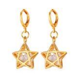 Jual U7 Zircon Star 18 K Emas Berlapis Drop Earring Emas Branded