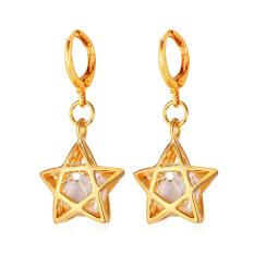 Toko U7 Zircon Star 18 K Emas Berlapis Drop Earring Emas Termurah