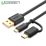 Ulasan Lengkap Ugreen 1Meter Micro Usb Cable For Xiaomi Redmi 2 In 1 Usb Type C Cable Fast Charger Data Usb C Cable For Xiaomi A1 Nexus 5X 6P Nokia N1 One Plus 2 Phone