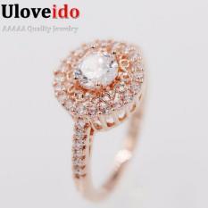 Uloveido Fashion Rose Gold Disepuh Pink Gold Cincin Kawin untuk Wanita CZ Berlian Perhiasan Cubic Zirconia Love Ring Y134-Intl