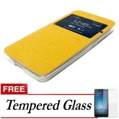 Ume Case Flip Cover for Lenovo Vibe K4 Note - Emas + Gratis Tempered Glass