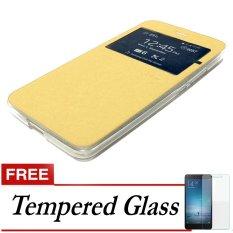Ume Flip Cover for Lenovo K4 Note (a7010)  - Emas + Gratis Tempered Glass