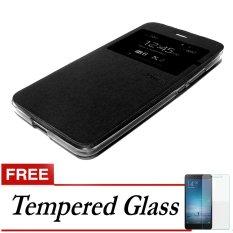 Ume Flip Cover for Lenovo K4 Note (a7010) - Hitam + Gratis Tempered Glass