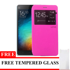 Ume Limited Edition Flip Cover untuk Xiaomi Mi 5 New - Pink + Gratis Tempered Glass