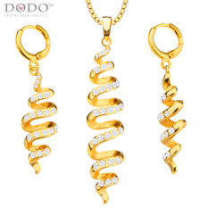 Unik Fashion Terdistorsi Perhiasan Set Wanita Liontin Kalung Earrings 18 K Berlapis Emas India Perhiasan Set Hadiah S20143-Intl