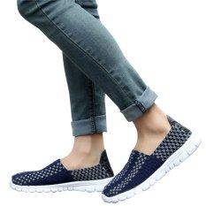 'S Busana Kasual Unisex Indonesia Ngumpul Di Sini Sepatu Santai Sepatu Her Kets Kain Sejuk To Walk (biru Tua, Coklat, 35)
