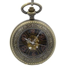 Vintage Magnifier Case Arabic Black Dial Arabic Number Hand Wind Mechanical Men's Pocket Watch 17 Jewels w/Chain