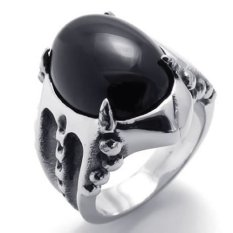 Baja Anti Karat Vintage Cakar Naga Gotik Cincin Pengunggang Motor Pria Oval Batu Akik Hitam Perak