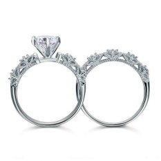 Vintage Gaya 1.25 Ct Dibuat Berlian Murni 925 Perak 2-Pc Pernikahan Cincin Pertunangan Set