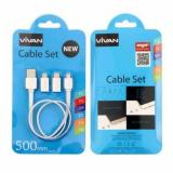 Jual Vivan Cable Set New Sync Charging 50 Cm Putih Lengkap