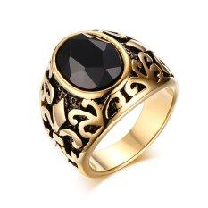 VNOX Stainless Steel Berlapis Emas Hitam Crystal Cincin untuk Pernikahan dan Lamaran Warna