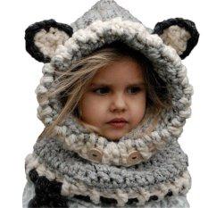 Spesifikasi Warm Winter Wool Fox Hat Cap Coif Hood Scarf For Toddler Boy G*rl Baby Kids Cute Grey Bagus