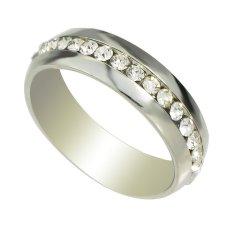 Pernikahan Perhiasan Emas Warna Perak dengan Berlian Imitasi Jari Merek Cincin untuk Wanita dan Pria