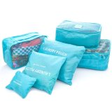 Toko Weekeight Korean 6 In 1 Organizer Pouch Tas Travel Bag In Bag Storage Set 6 In 1 Biru Muda Lengkap
