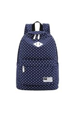 Spesifikasi Win8Fong Girls Polka Dot Printing Canvas Travelbag Sch**l Backpack Dark Blue Paling Bagus