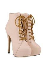 Harga Win8Fong Wanita High Heel Ankle Boots Lace Up Platform Pesta Boots Apricot Win8Fong Ori