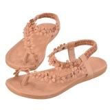 Diskon Wome Gadis Baru Bohemia Bunga Manik Manik Sepatu Flip Flop Sandal Flat Pink Putih Pink Intl Branded