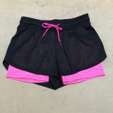Spek Kasual Wanita Longgar Sport Yoga Shorts Adjustable Waist Fitness Menjalankan Celana Pendek Pink