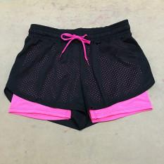 Jual Kasual Wanita Longgar Sport Yoga Shorts Adjustable Waist Fitness Menjalankan Celana Pendek Pink Murah
