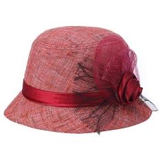 Wanita Elegan Bunga Sun Beach Gaun Gereja Hat (Merah)-Intl