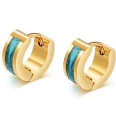 Wanita Fashion 18 K Emas Plated Earrings Punk Rock Stainless Steel Anting untuk Wanita Pria