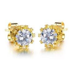 Toko Jual Wanita Fashion Earring Putih Crystal Stud Earrings Untuk Wanita Perhiasan 18 K Perhiasan Emas