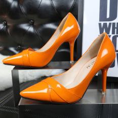 Toko Wanita Fashion Wedding High Heels Pompa Perkantoran Sepatu Orange Di Tiongkok
