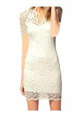 Beli Wanita Lace V Neck Lengan Pendek Dicungkil Gaun Elegan Putih Online Terpercaya