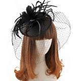 Jual Wanita S Elegan Bulu Flower Veil Sinamay Fascinator Headband Untuk Pesta Pernikahan Hitam Oem